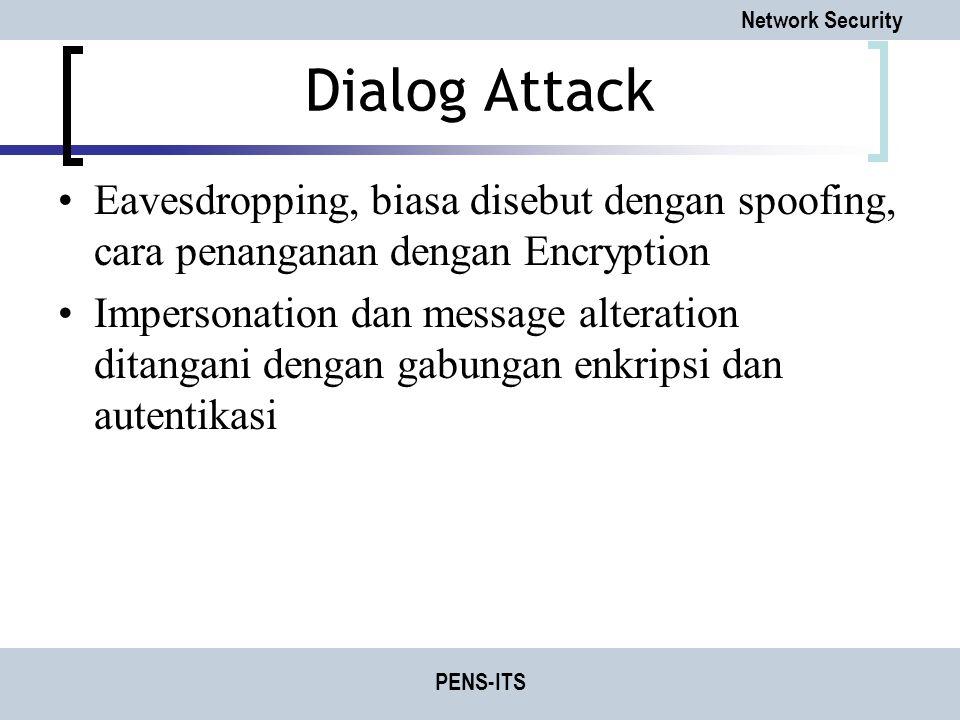 Dialog Attack Eavesdropping, biasa disebut dengan spoofing, cara penanganan dengan Encryption.