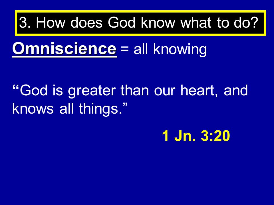 Omniscience = all knowing