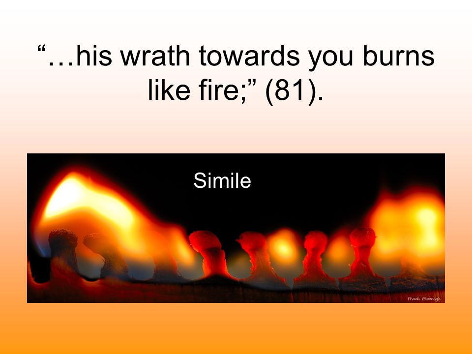 …his wrath towards you burns like fire; (81).