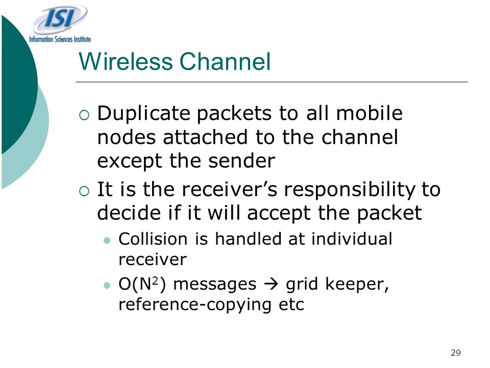 Wireless Channel Duplicate packets to all mobile nodes attached to the channel except the sender.