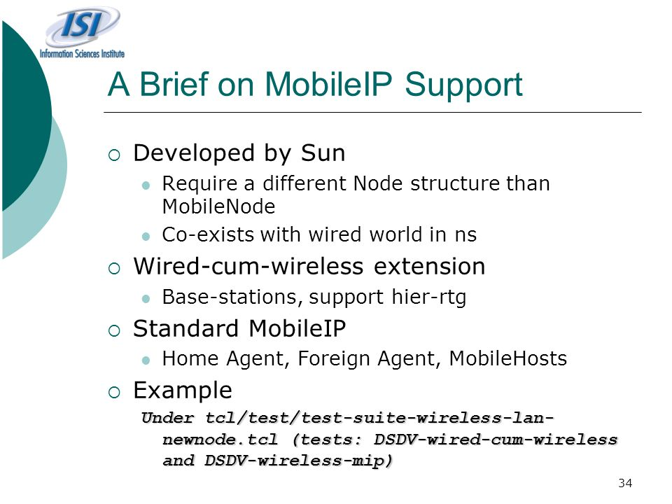 A Brief on MobileIP Support