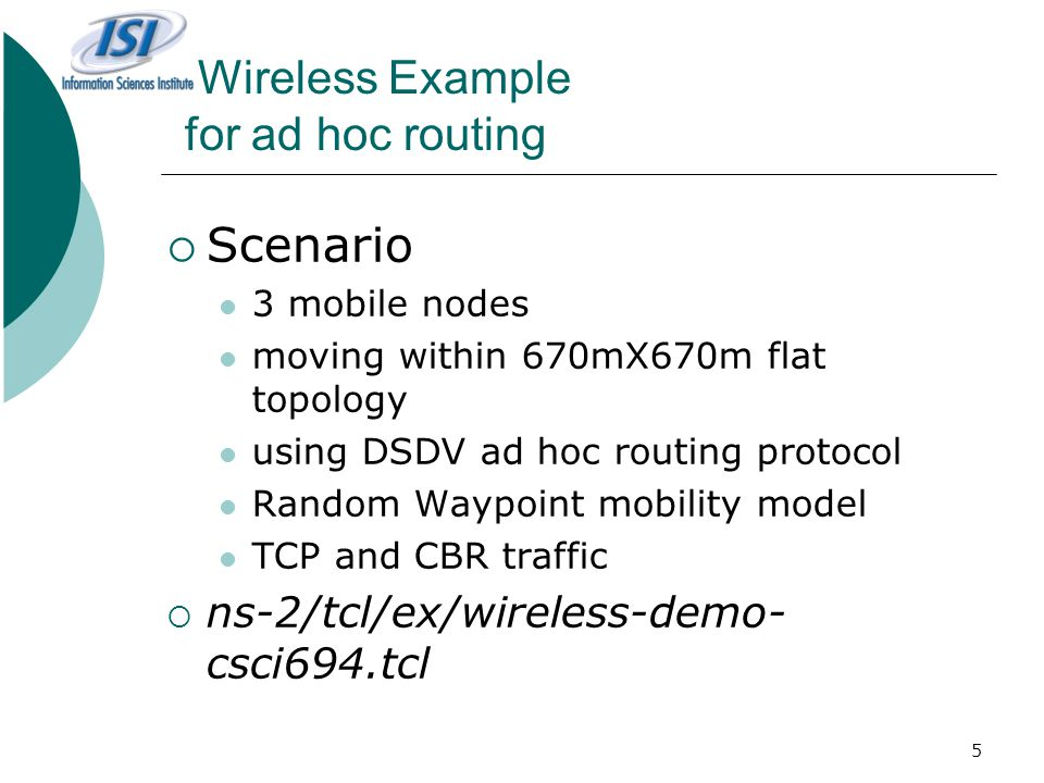 Wireless Example for ad hoc routing