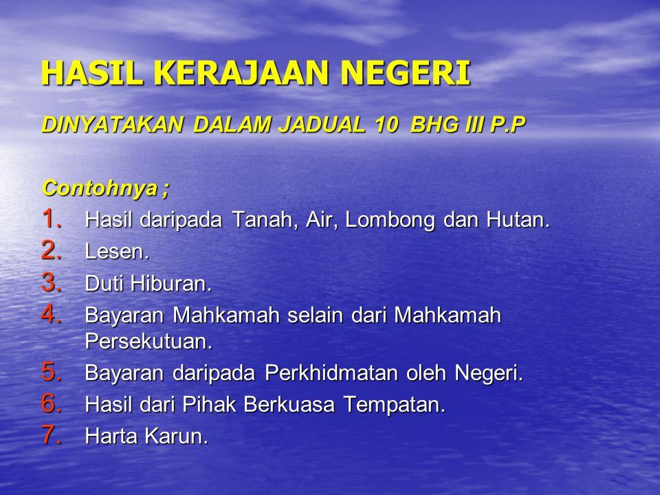 HASIL KERAJAAN NEGERI DINYATAKAN DALAM JADUAL 10 BHG III P.P