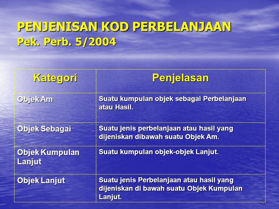 PENJENISAN KOD PERBELANJAAN Pek. Perb. 5/2004