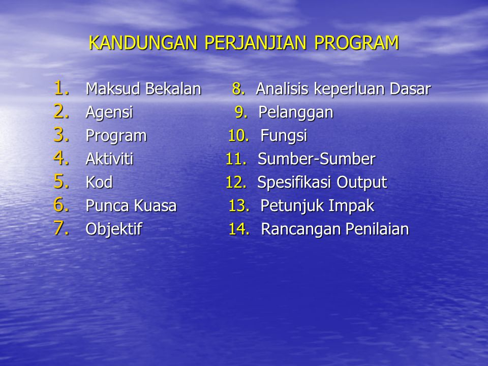 KANDUNGAN PERJANJIAN PROGRAM