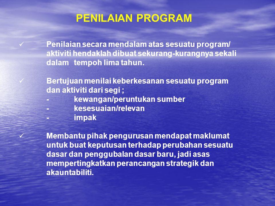 PENILAIAN PROGRAM Penilaian secara mendalam atas sesuatu program/