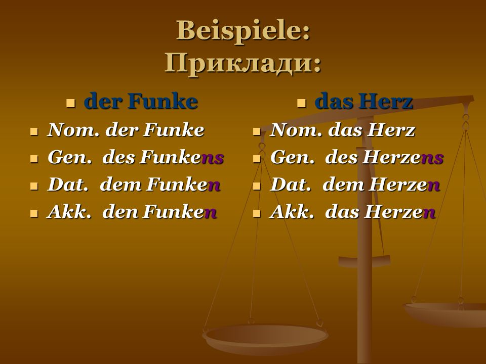Beispiele: Приклади: der Funke das Herz Nom. der Funke