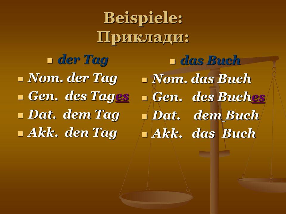 Beispiele: Приклади: der Tag das Buch Nom. der Tag Nom. das Buch