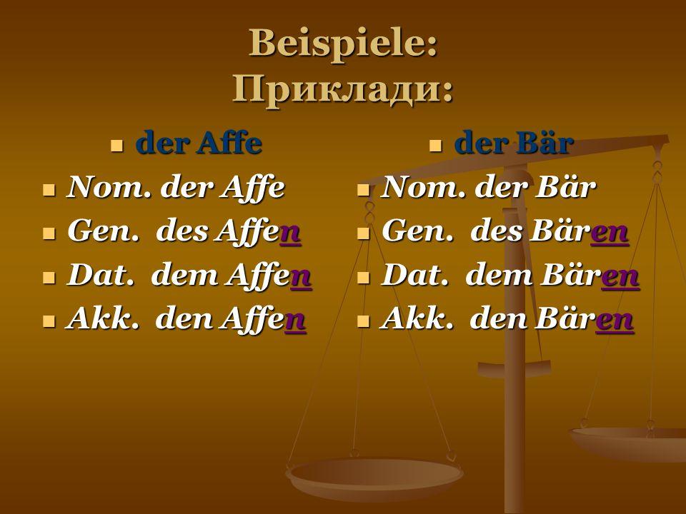 Beispiele: Приклади: der Affe Nom. der Affe Gen. des Affen