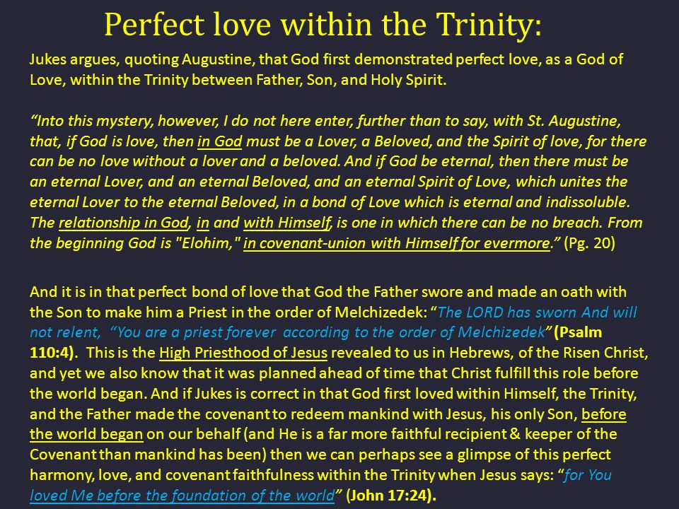 Perfect love within the Trinity: