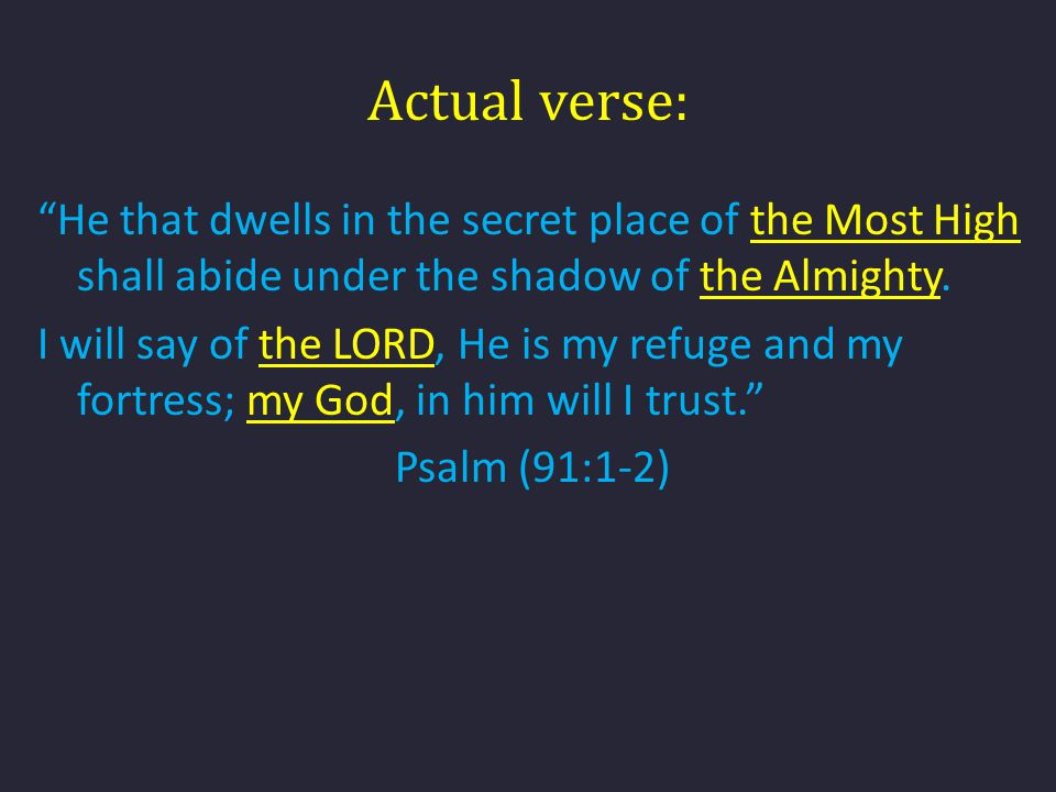 Actual verse: