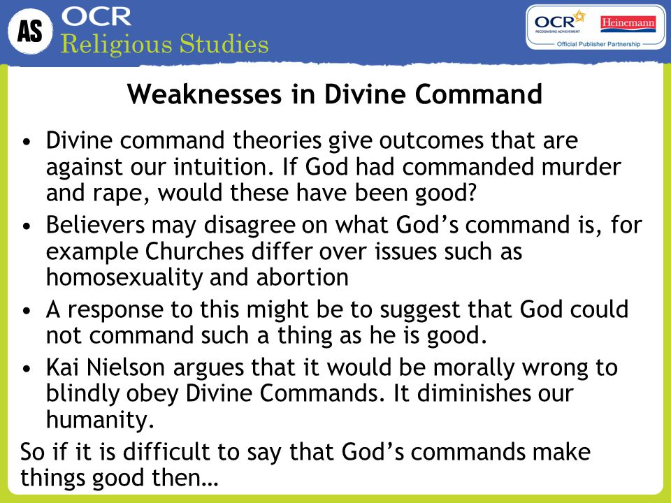 Weaknesses in Divine Command