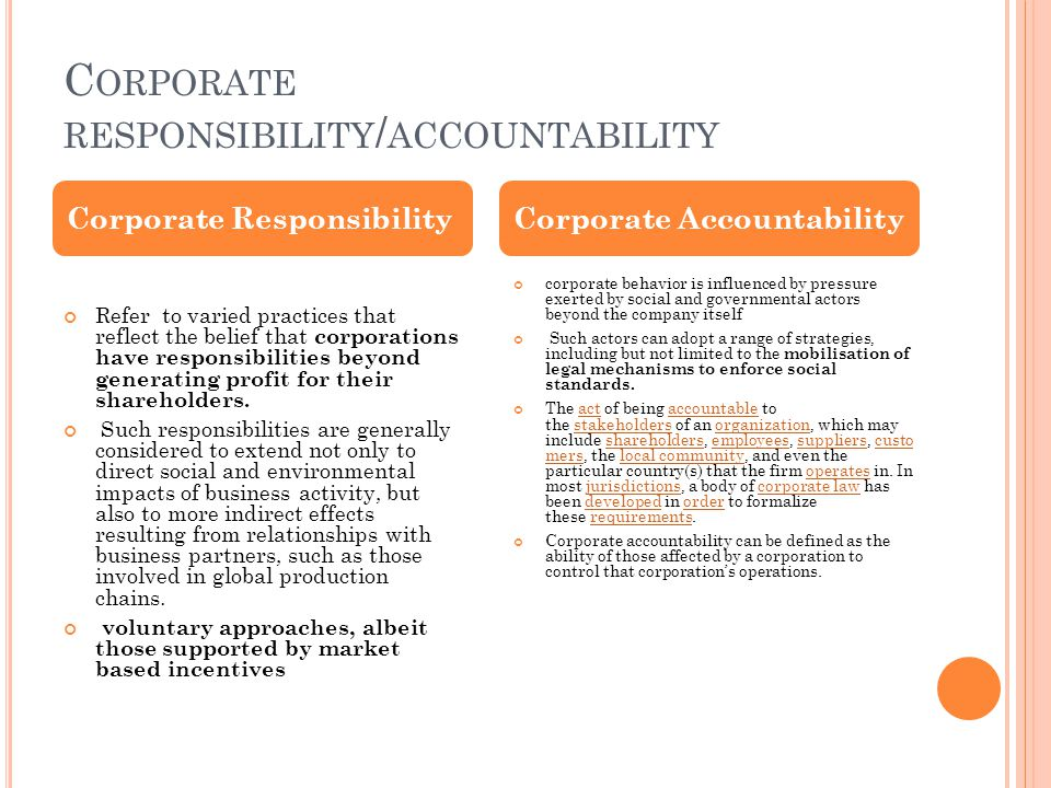 Corporate responsibility/accountability