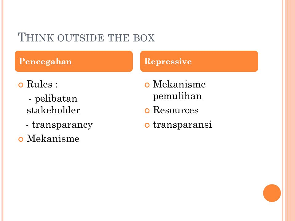 Think outside the box Rules : - pelibatan stakeholder - transparancy