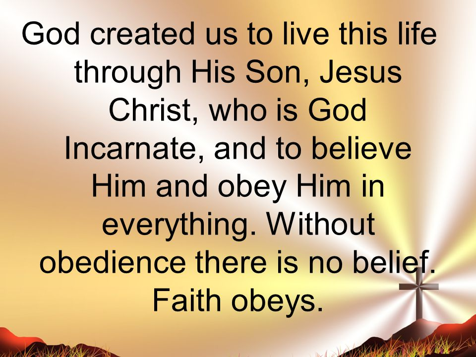 God created us to live this life through His Son, Jesus Christ, who is God Incarnate, and to believe Him and obey Him in everything.