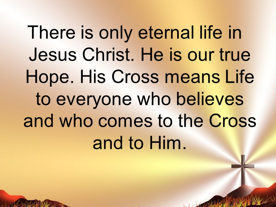 There is only eternal life in Jesus Christ. He is our true Hope