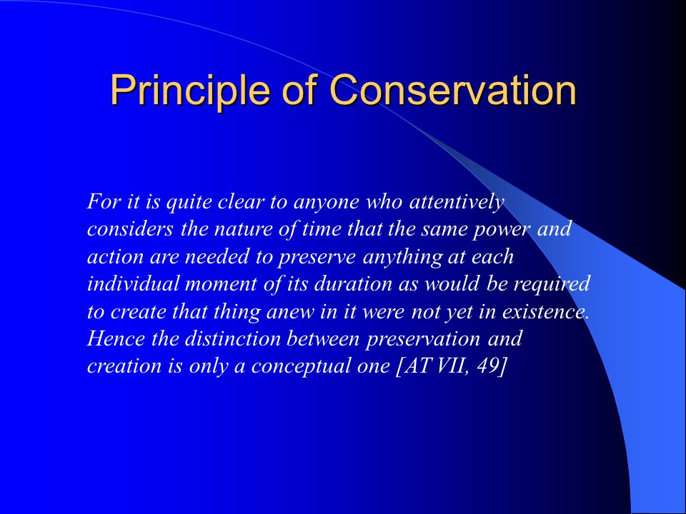 Principle of Conservation