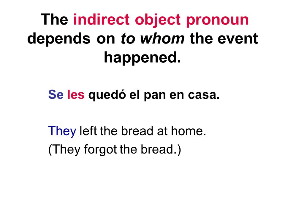 The indirect object pronoun depends on to whom the event happened.