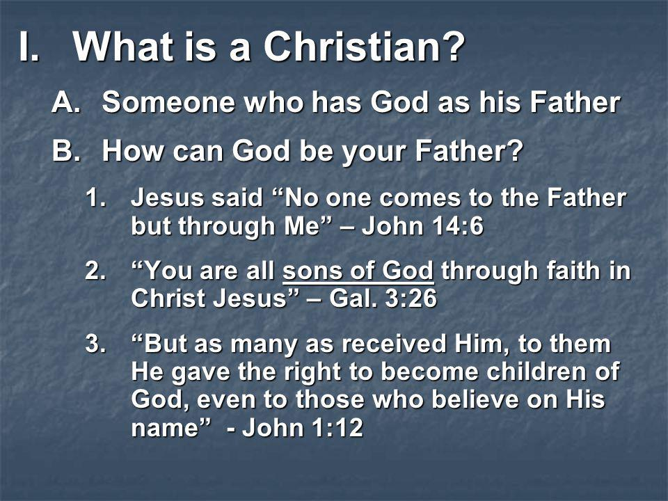 What is a Christian Someone who has God as his Father