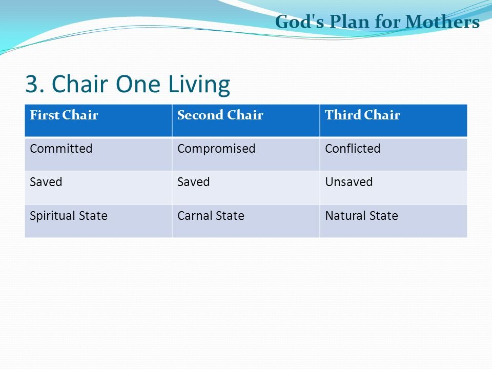 3. Chair One Living God s Plan for Mothers First Chair Second Chair