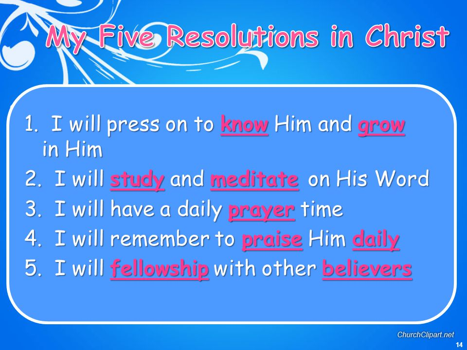 My Five Resolutions in Christ