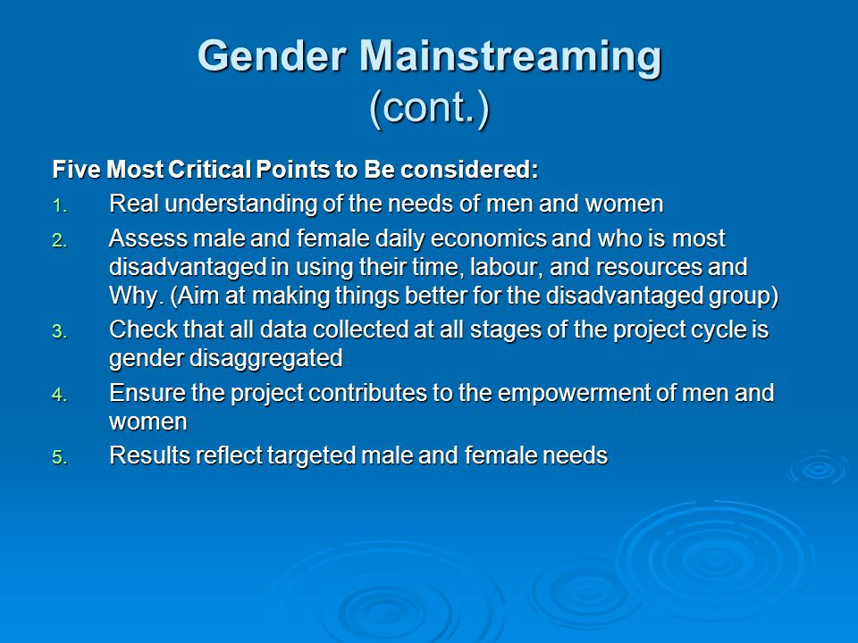 Gender Mainstreaming (cont.)