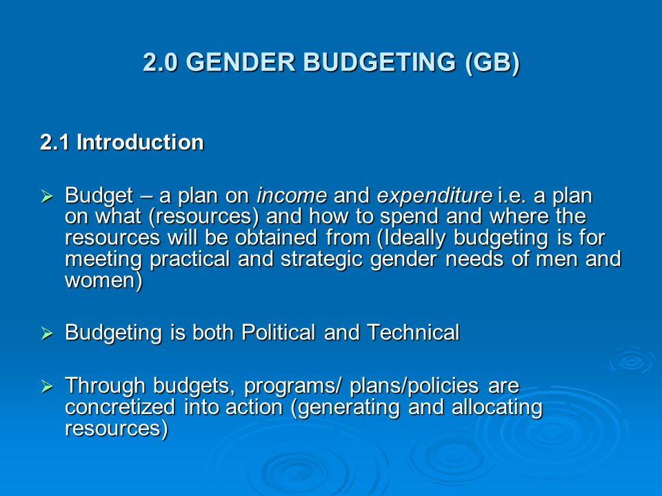 2.0 GENDER BUDGETING (GB) 2.1 Introduction