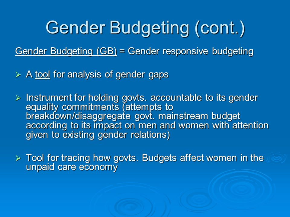 Gender Budgeting (cont.)
