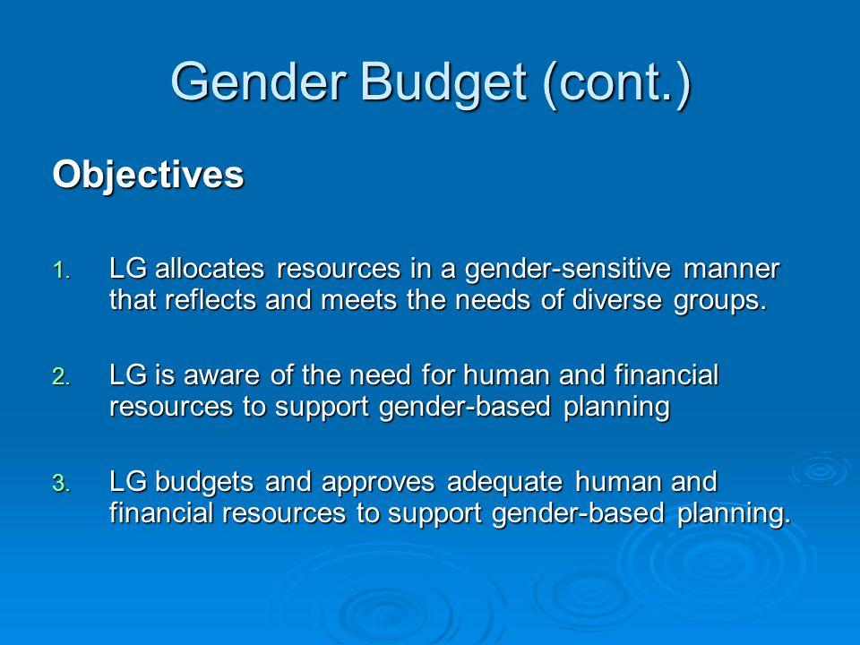 Gender Budget (cont.) Objectives