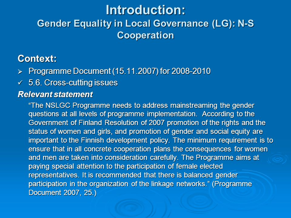 Introduction: Gender Equality in Local Governance (LG): N-S Cooperation