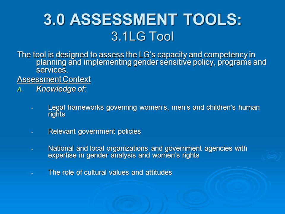 3.0 ASSESSMENT TOOLS: 3.1LG Tool