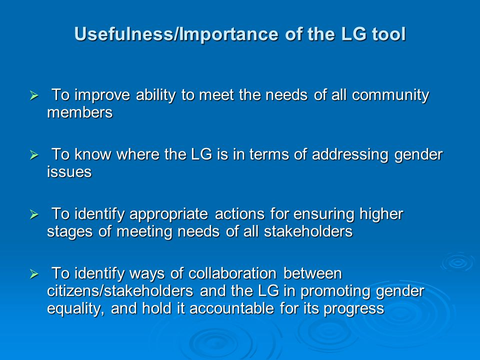 Usefulness/Importance of the LG tool