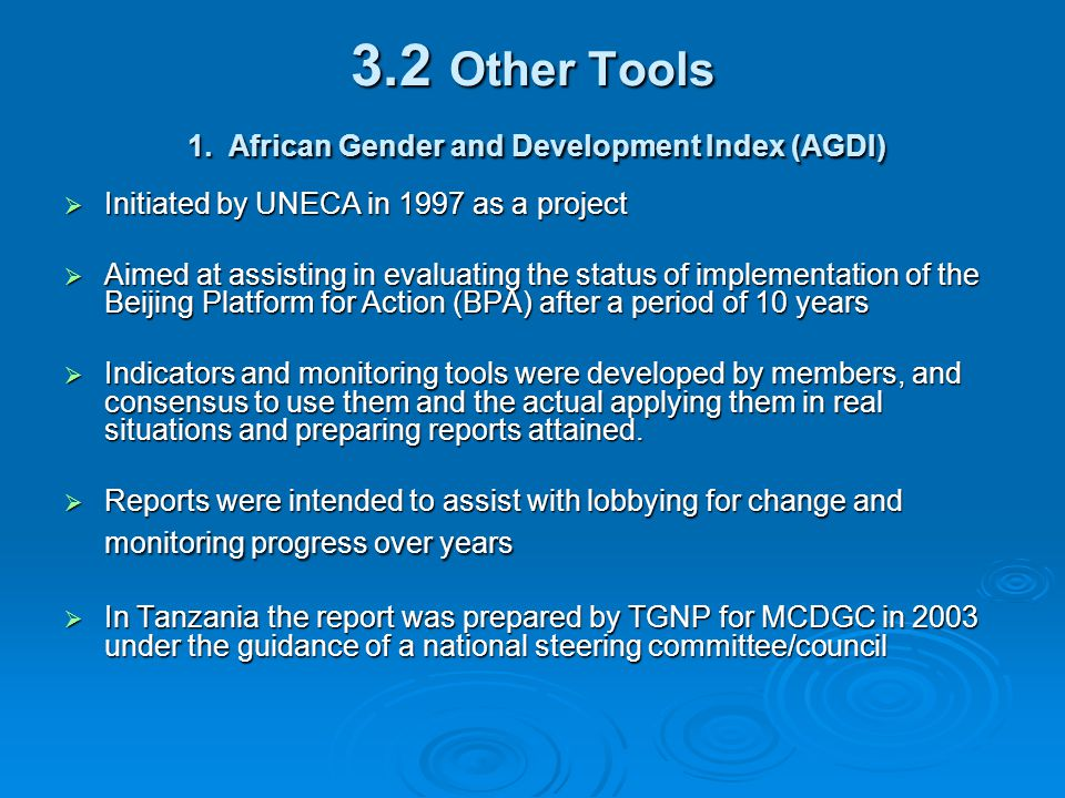 3.2 Other Tools 1. African Gender and Development Index (AGDI)