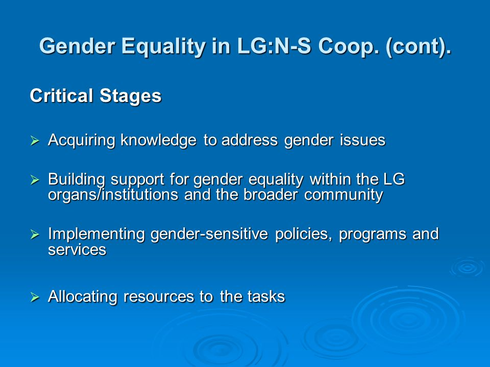 Gender Equality in LG:N-S Coop. (cont).