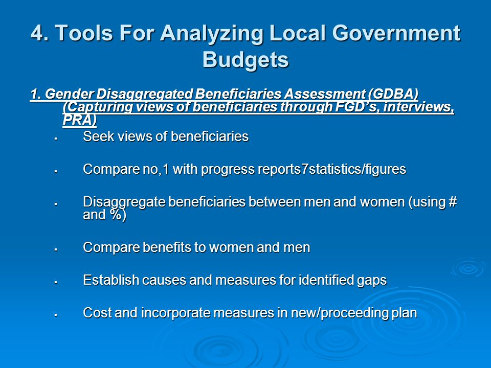 4. Tools For Analyzing Local Government Budgets