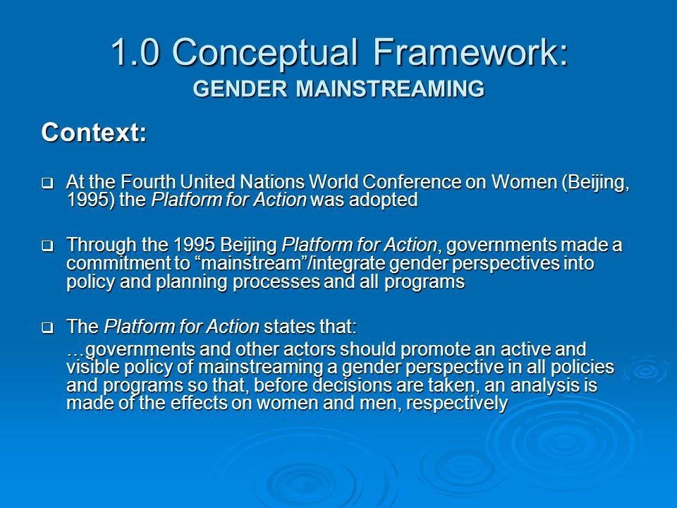 1.0 Conceptual Framework: GENDER MAINSTREAMING