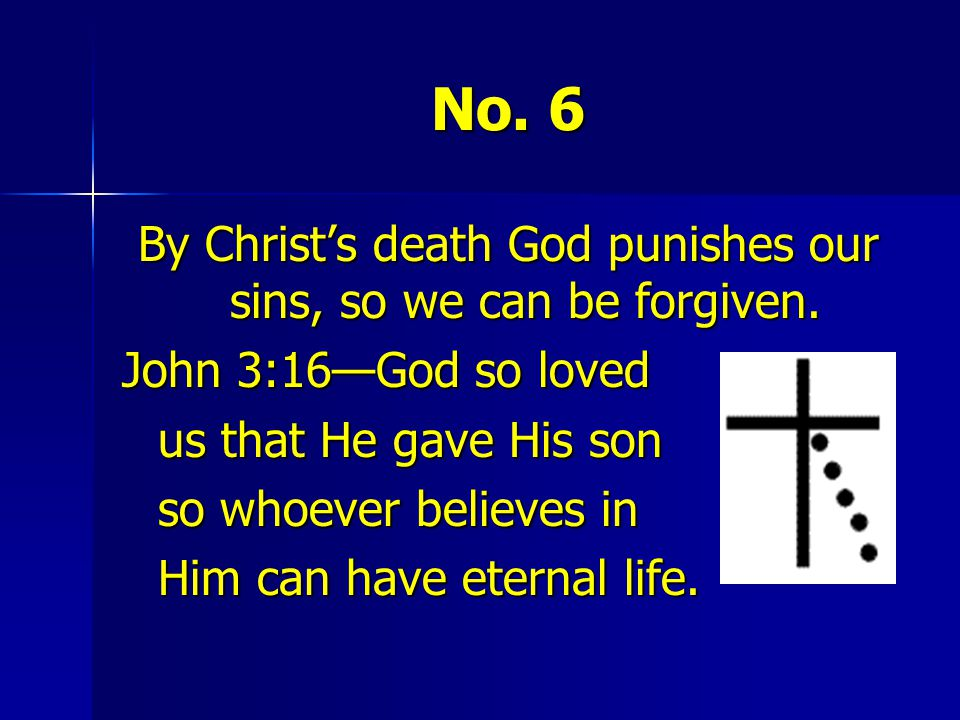 By Christ's death God punishes our sins, so we can be forgiven.