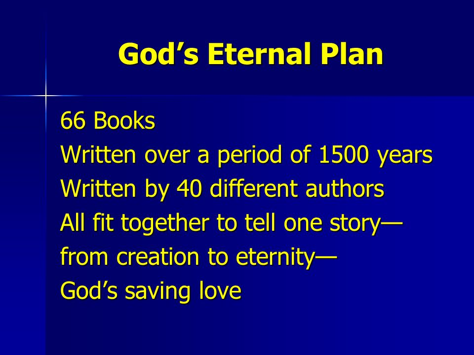 God's Eternal Plan 66 Books Written over a period of 1500 years
