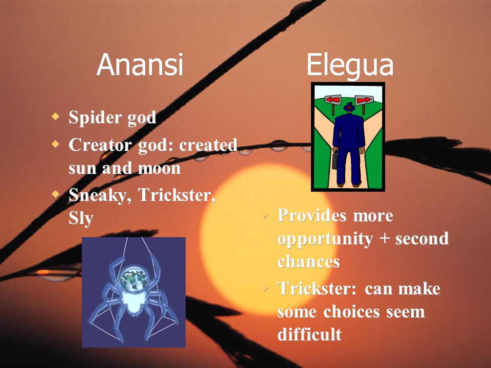 Anansi Elegua Spider god Creator god: created sun and moon