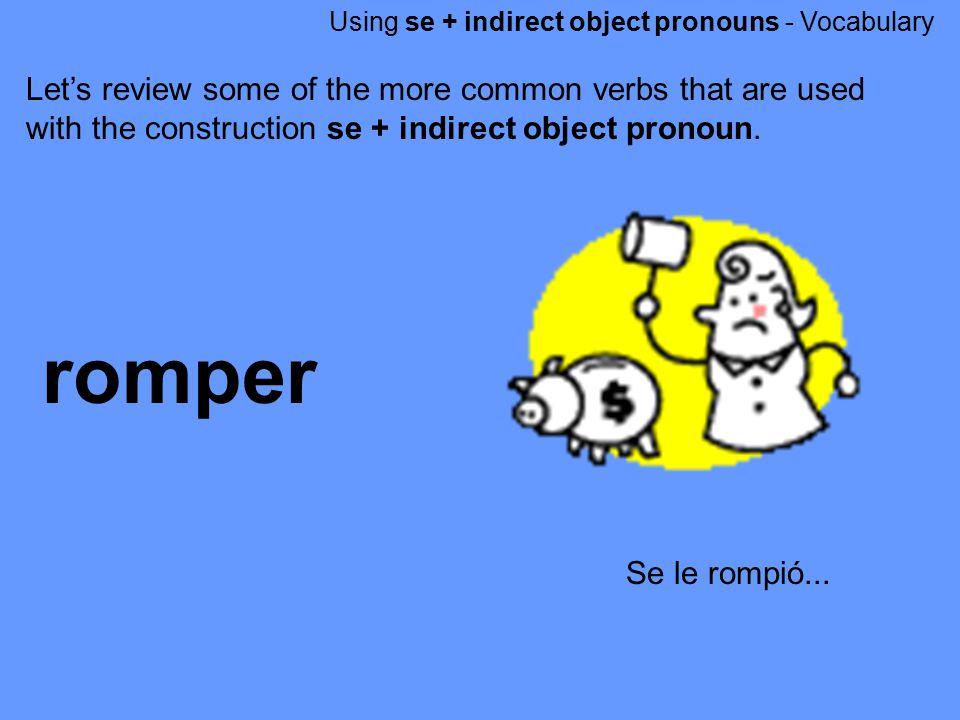Using se + indirect object pronouns - Vocabulary