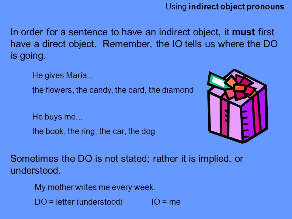 Sometimes the DO is not stated; rather it is implied, or understood.