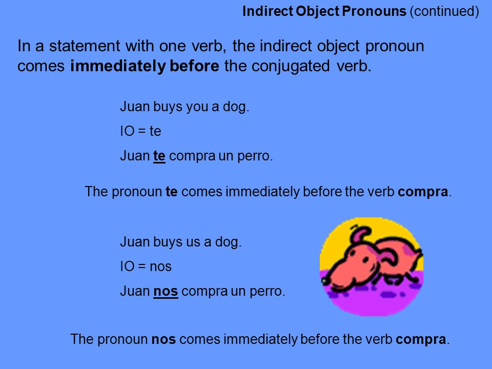Indirect Object Pronouns (continued)