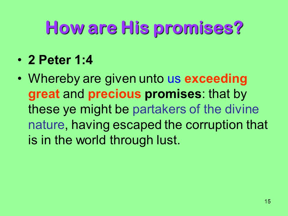 How are His promises 2 Peter 1:4