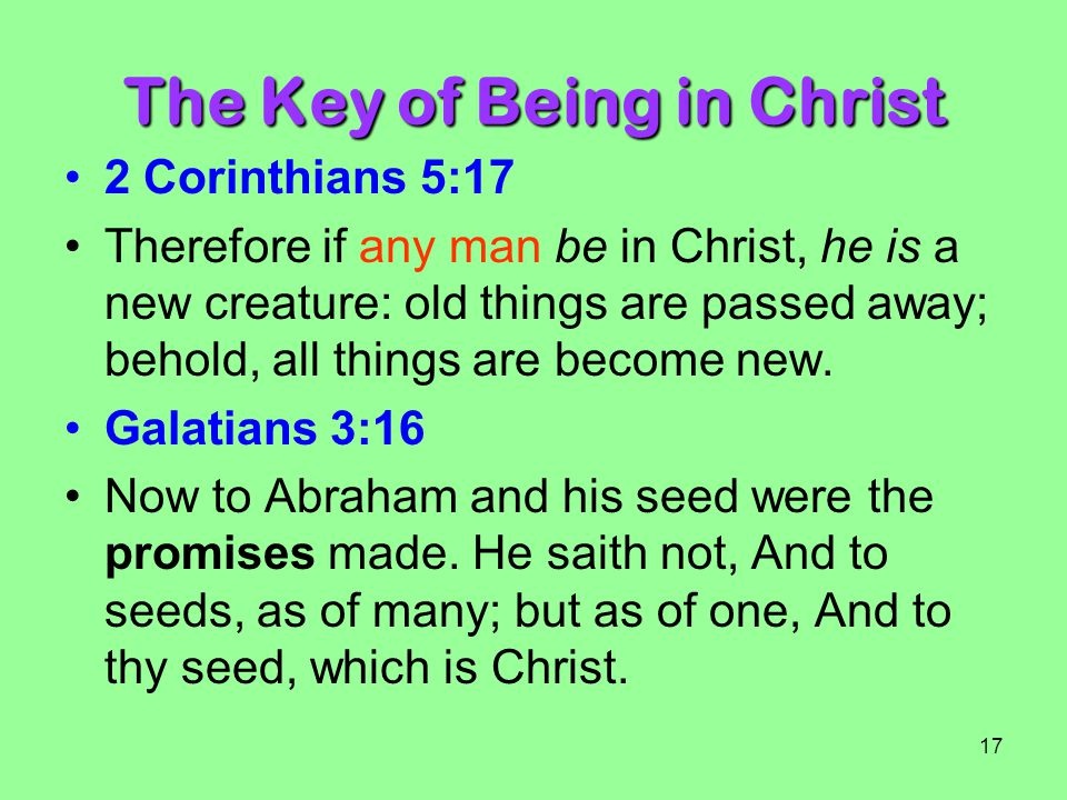 The Key of Being in Christ