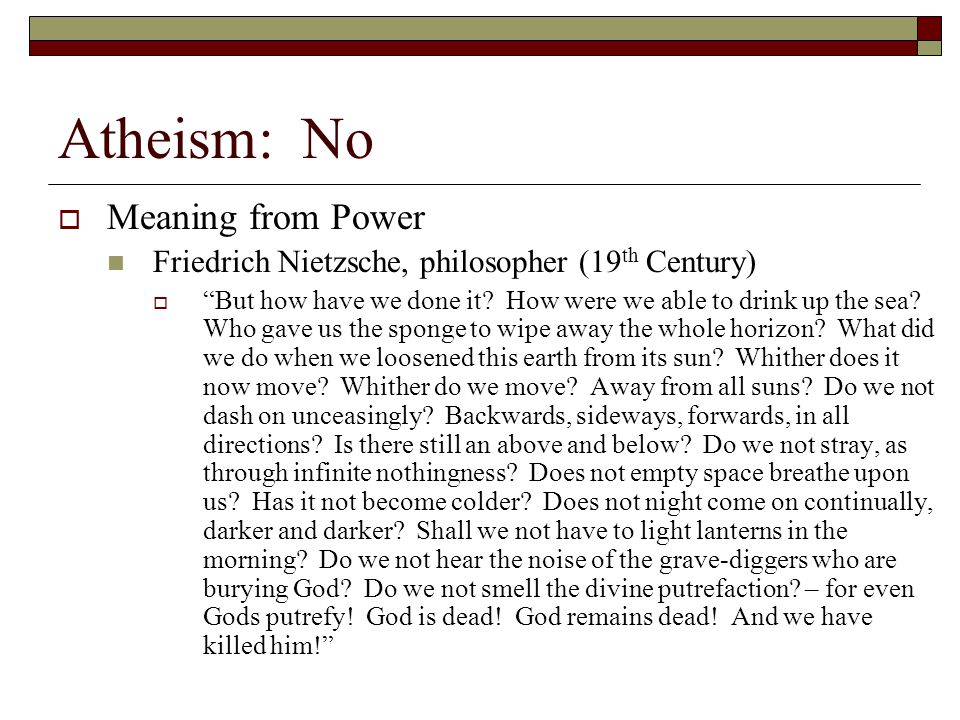 Atheism: No Meaning from Power