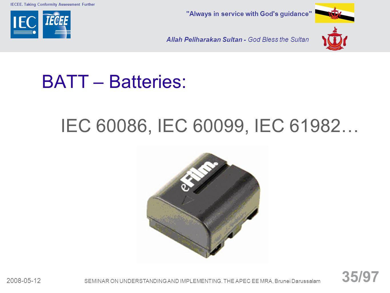BATT – Batteries: IEC 60086, IEC 60099, IEC 61982…