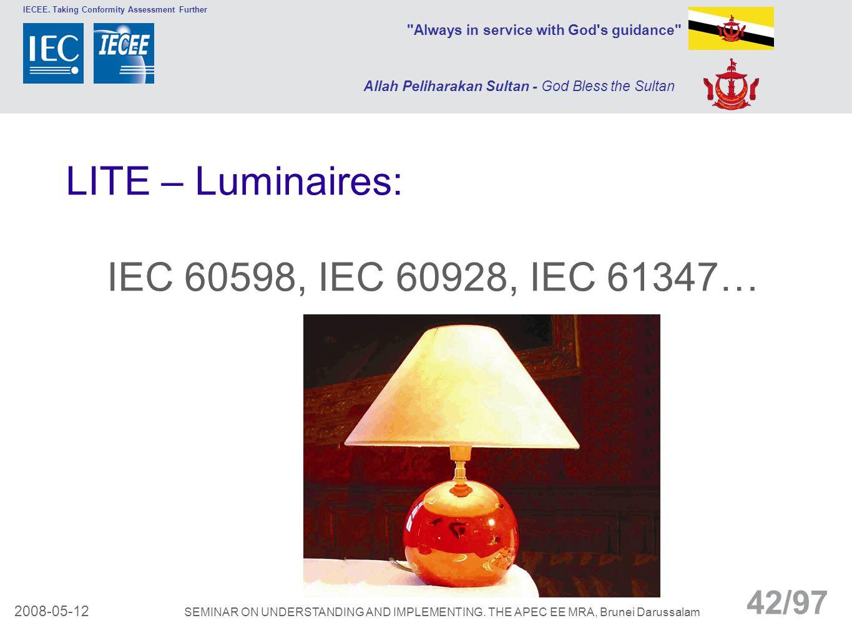 LITE – Luminaires: IEC 60598, IEC 60928, IEC 61347…