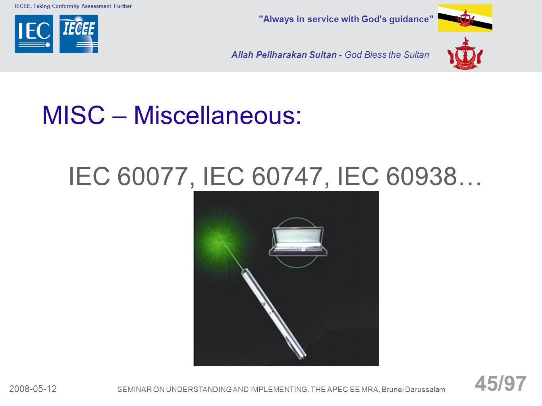 MISC – Miscellaneous: IEC 60077, IEC 60747, IEC 60938…
