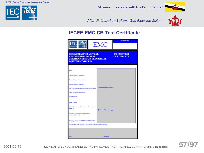 IECEE EMC CB Test Certificate