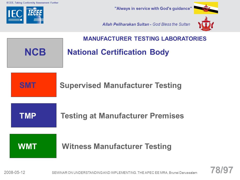 NCB National Certification Body SMT Supervised Manufacturer Testing